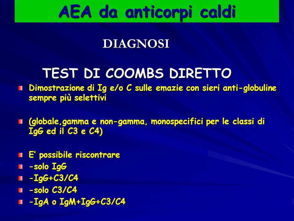 AEA da anticorpi caldi DIAGNOSI DIAGNOSI TEST DI COOMBS DIRETTO TEST DI COOMBS DIRETTO Dimostrazione di Ig e/o C sulle emazie con sieri anti-globuline sempre più selettivi (globale,gamma e non-gamma, monospecifici per le classi di IgG ed il C3 e C4) E' possibile riscontrare -solo IgG -IgG+C3/C4 -solo C3/C4 -IgA o IgM+IgG+C3/C4