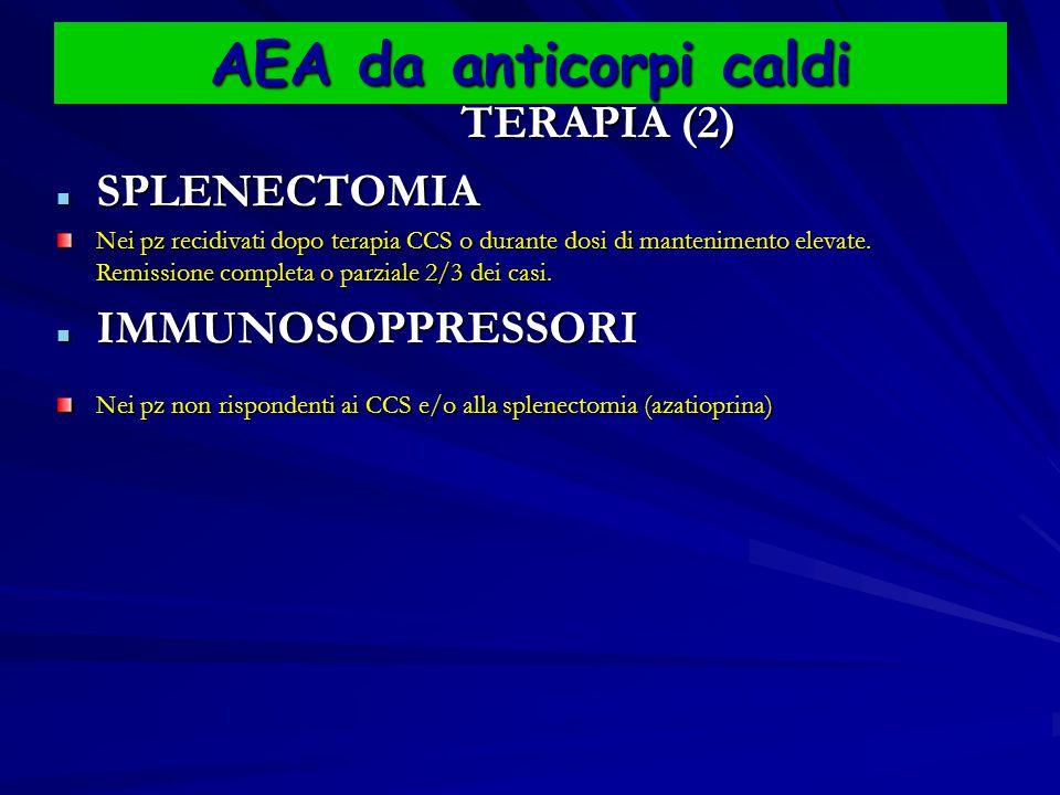 AEA da anticorpi caldi TERAPIA (2) TERAPIA (2) SPLENECTOMIA SPLENECTOMIA Nei pz recidivati dopo terapia CCS o durante dosi di mantenimento elevate.