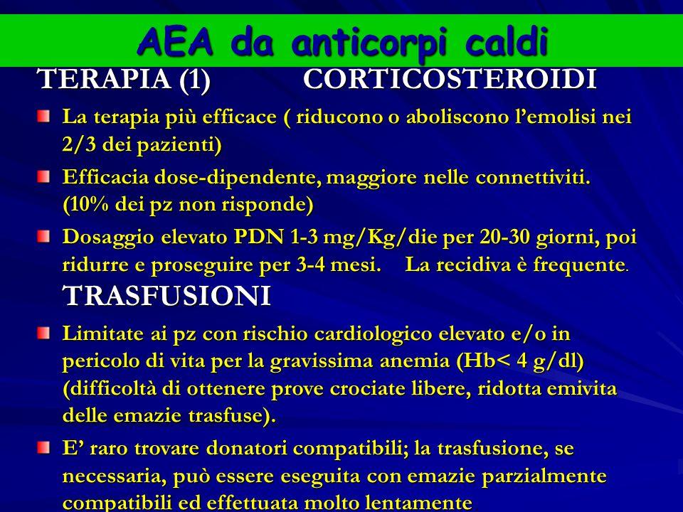 AEA da anticorpi caldi TERAPIA (1) CORTICOSTEROIDI La terapia più efficace ( riducono o aboliscono l'emolisi nei 2/3 dei pazienti) Efficacia dose-dipendente, maggiore nelle connettiviti.