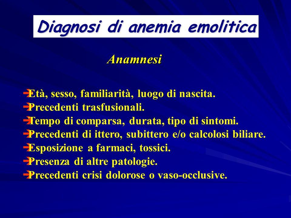 Diagnosi di anemia emolitica  Età, sesso, familiarità, luogo di nascita.  Precedenti trasfusionali.  Tempo di comparsa, durata, tipo di sintomi. 