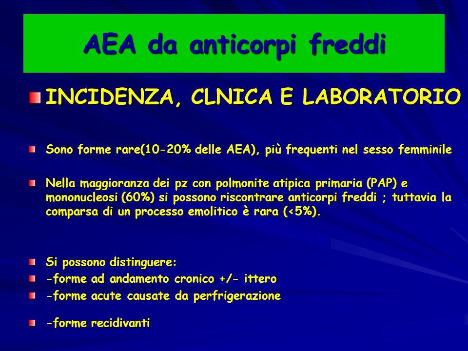 AEA da anticorpi freddi INCIDENZA, CLNICA E LABORATORIO Sono forme rare(10-20% delle AEA), più frequenti nel sesso femminile Nella maggioranza dei pz con polmonite atipica primaria (PAP) e mononucleosi (60%) si possono riscontrare anticorpi freddi ; tuttavia la comparsa di un processo emolitico è rara (<5%).