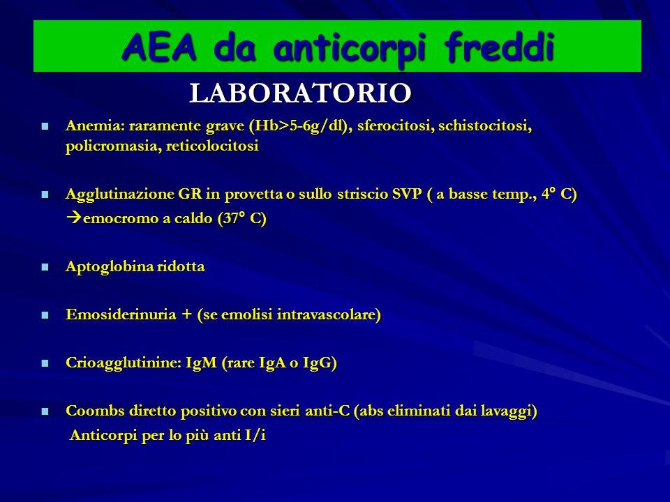 AEA da anticorpi freddi LABORATORIO LABORATORIO Anemia: raramente grave (Hb>5-6g/dl), sferocitosi, schistocitosi, policromasia, reticolocitosi Anemia: raramente grave (Hb>5-6g/dl), sferocitosi, schistocitosi, policromasia, reticolocitosi Agglutinazione GR in provetta o sullo striscio SVP ( a basse temp., 4° C) Agglutinazione GR in provetta o sullo striscio SVP ( a basse temp., 4° C)  emocromo a caldo (37° C)  emocromo a caldo (37° C) Aptoglobina ridotta Aptoglobina ridotta Emosiderinuria + (se emolisi intravascolare) Emosiderinuria + (se emolisi intravascolare) Crioagglutinine: IgM (rare IgA o IgG) Crioagglutinine: IgM (rare IgA o IgG) Coombs diretto positivo con sieri anti-C (abs eliminati dai lavaggi) Coombs diretto positivo con sieri anti-C (abs eliminati dai lavaggi) Anticorpi per lo più anti I/i Anticorpi per lo più anti I/i