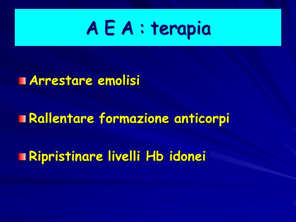A E A : terapia Arrestare emolisi Rallentare formazione anticorpi Ripristinare livelli Hb idonei