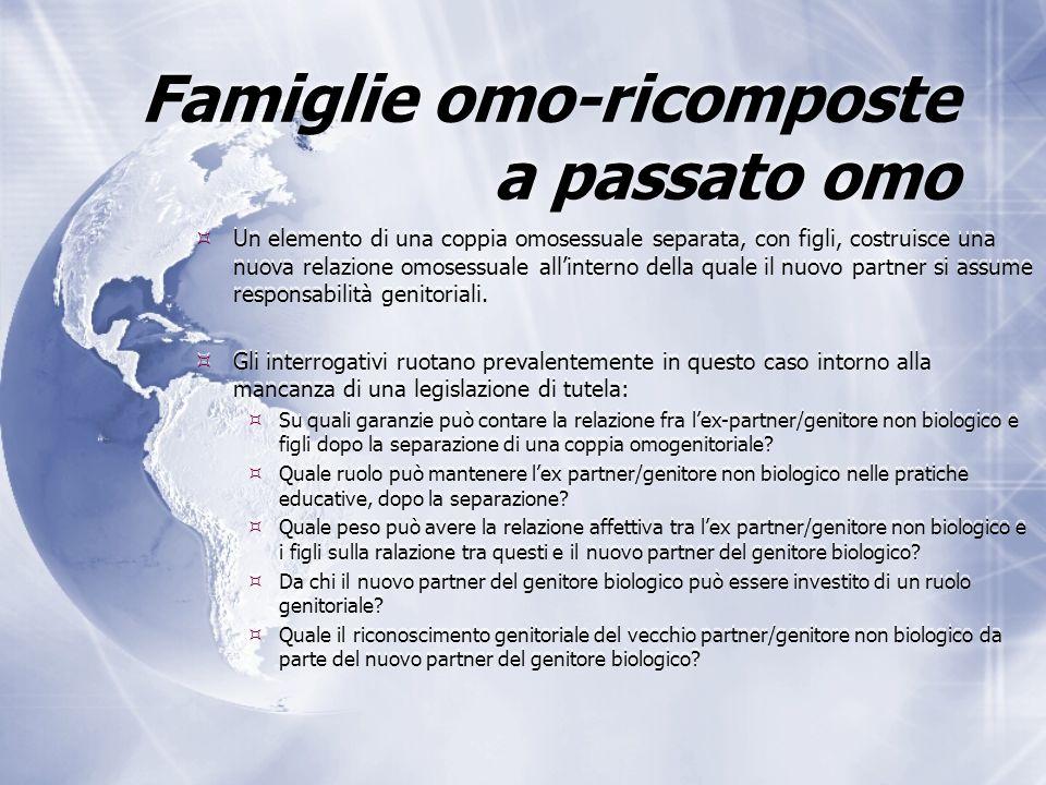 Famiglie omo-ricomposte a passato omo  Un elemento di una coppia omosessuale separata, con figli, costruisce una nuova relazione omosessuale all'interno della quale il nuovo partner si assume responsabilità genitoriali.