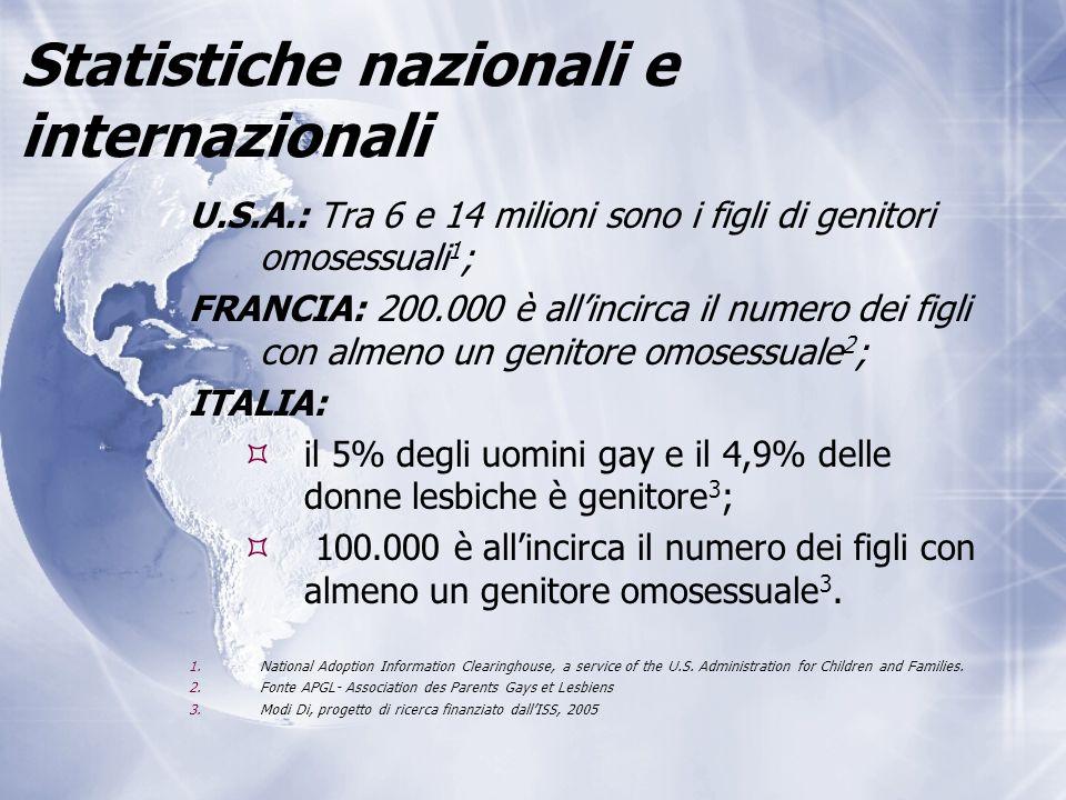 Statistiche nazionali e internazionali U.S.A.: Tra 6 e 14 milioni sono i figli di genitori omosessuali 1 ; FRANCIA: 200.000 è all'incirca il numero dei figli con almeno un genitore omosessuale 2 ; ITALIA:  il 5% degli uomini gay e il 4,9% delle donne lesbiche è genitore 3 ;  100.000 è all'incirca il numero dei figli con almeno un genitore omosessuale 3.