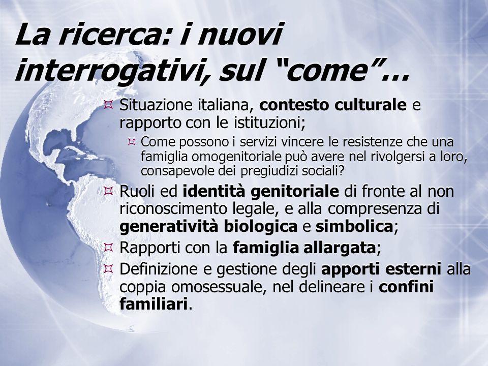 Famiglie a costituzione lesbica  Diverse modalità di filiazione:  Autoinseminazione;  PMA: Procreazione Medicalmente Assistita  IAD/IAC: Inseminazione Artificiale da Donatore anonimo, o Conosciuto.