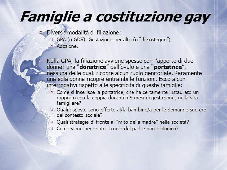 Famiglie a costituzione gay  Diverse modalità di filiazione:  GPA (o GDS): Gestazione per altri (o di sostegno );  Adozione.