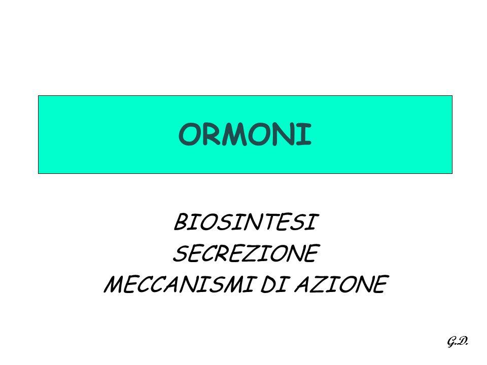 ORMONI BIOSINTESI SECREZIONE MECCANISMI DI AZIONE G.D.