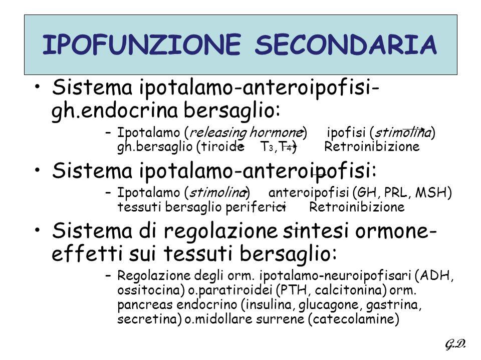 IPOFUNZIONE SECONDARIA Sistema ipotalamo-anteroipofisi- gh.endocrina bersaglio: –Ipotalamo (releasing hormone) ipofisi (stimolina) gh.bersaglio (tiroi