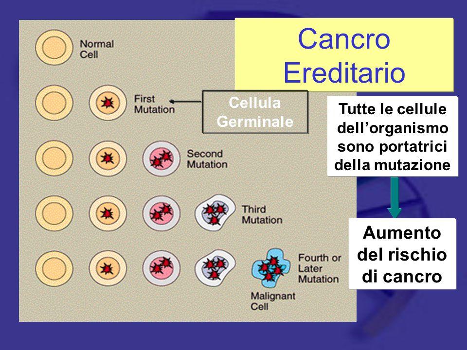 Cancro Ereditario Cellula Germinale Tutte le cellule dell'organismo sono portatrici della mutazione Aumento del rischio di cancro
