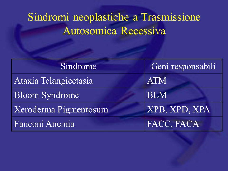 Sindromi neoplastiche a Trasmissione Autosomica Recessiva SindromeGeni responsabili Ataxia TelangiectasiaATM Bloom SyndromeBLM Xeroderma PigmentosumXPB, XPD, XPA Fanconi AnemiaFACC, FACA