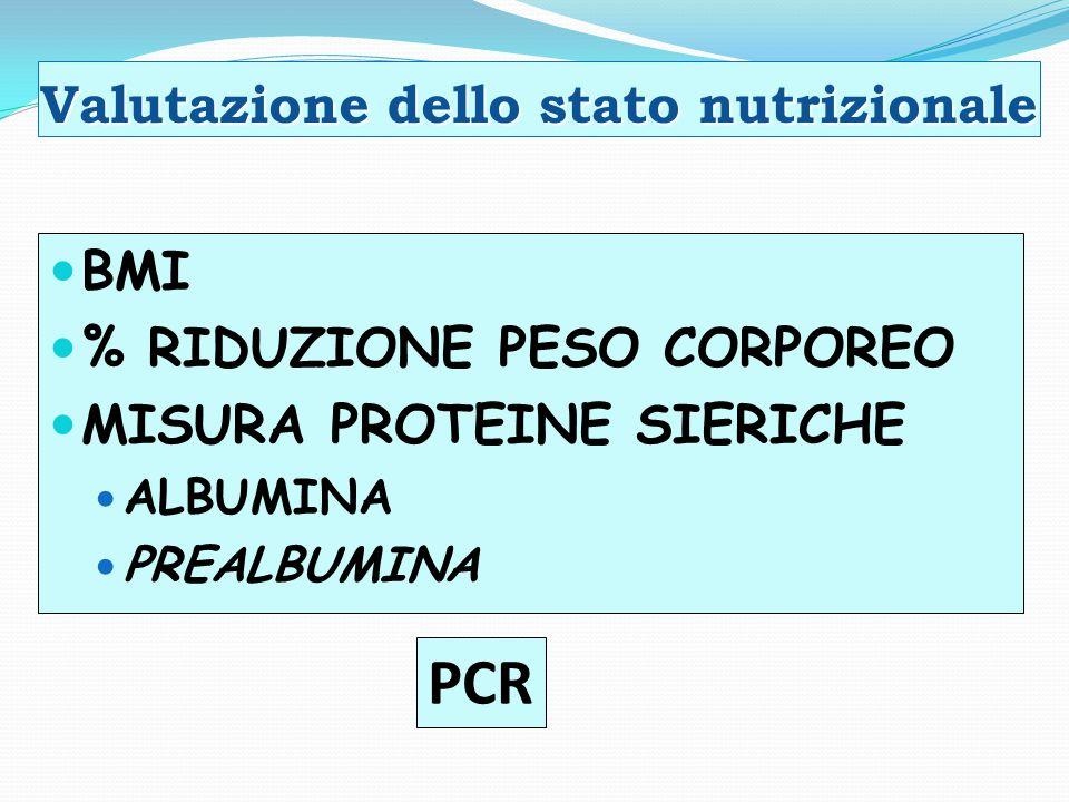 Valutazione dello stato nutrizionale BMI % RIDUZIONE PESO CORPOREO MISURA PROTEINE SIERICHE ALBUMINA PREALBUMINA PCR