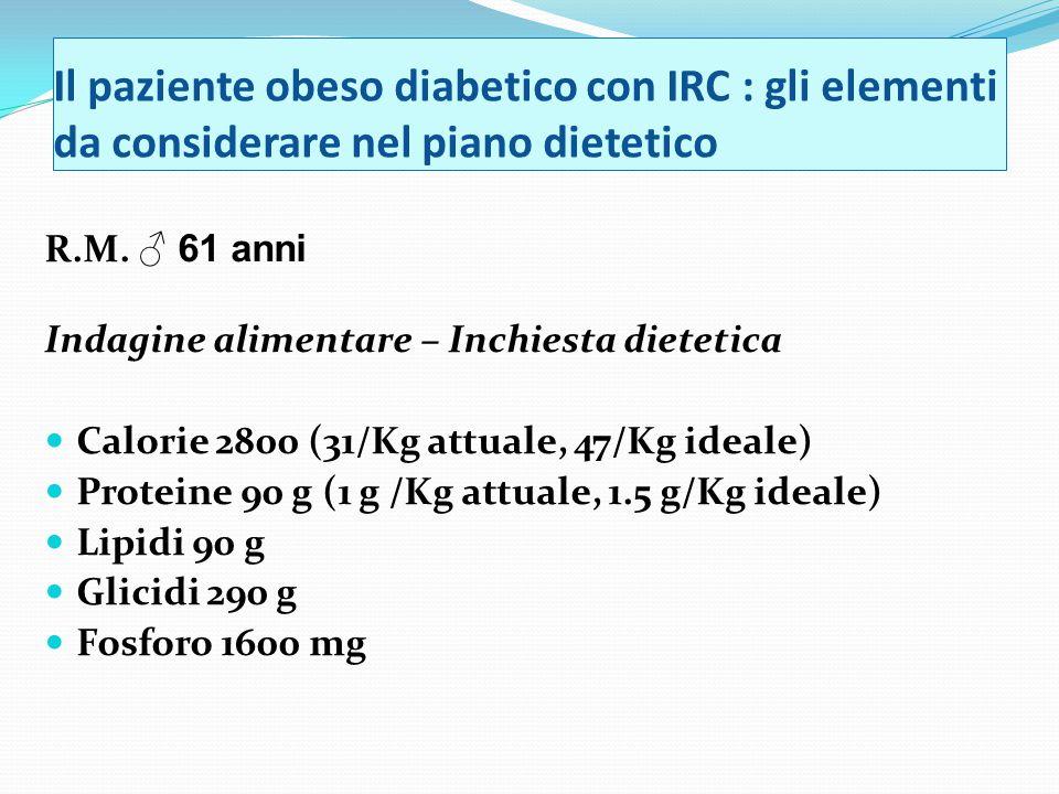 Il paziente obeso diabetico con IRC : gli elementi da considerare nel piano dietetico R.M.