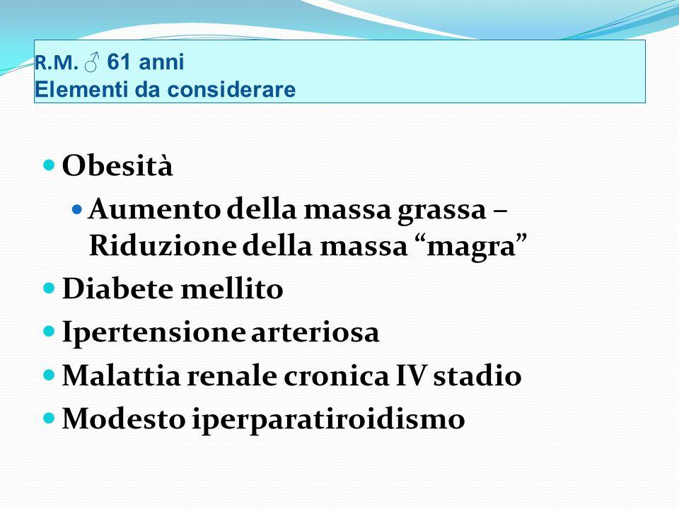 Obesità Aumento della massa grassa – Riduzione della massa magra Diabete mellito Ipertensione arteriosa Malattia renale cronica IV stadio Modesto iperparatiroidismo R.M.