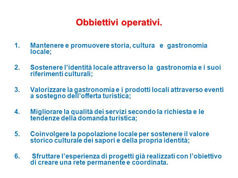 Obbiettivi operativi. 1.Mantenere e promuovere storia, cultura e gastronomia locale; 2.Sostenere l'identità locale attraverso la gastronomia e i suoi