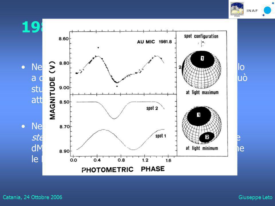 Catania, 24 Ottobre 2006Giuseppe Leto 1983 - Non solo flares Nel 1983, La Fauci e Rodonò pubblicano un modello a due macchie con il quale per la prima volta si può studiare le variazioni delle curve di luce in stelle attive.