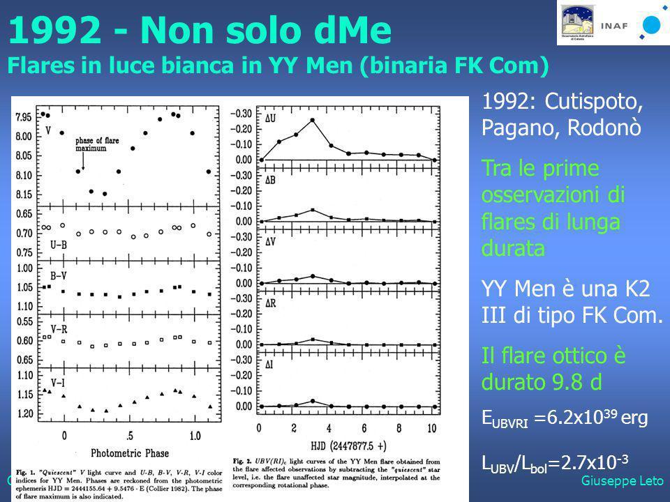 Catania, 24 Ottobre 2006Giuseppe Leto 1992 - Non solo dMe Flares in luce bianca in YY Men (binaria FK Com) 1992: Cutispoto, Pagano, Rodonò Tra le prime osservazioni di flares di lunga durata YY Men è una K2 III di tipo FK Com.