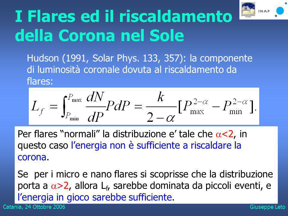 Catania, 24 Ottobre 2006Giuseppe Leto I Flares ed il riscaldamento della Corona nel Sole Per flares normali la distribuzione e' tale che  <2, in questo caso l'energia non è sufficiente a riscaldare la corona.