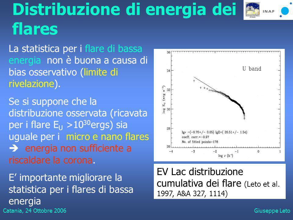 Catania, 24 Ottobre 2006Giuseppe Leto Distribuzione di energia dei flares La statistica per i flare di bassa energia non è buona a causa di bias osservativo (limite di rivelazione).