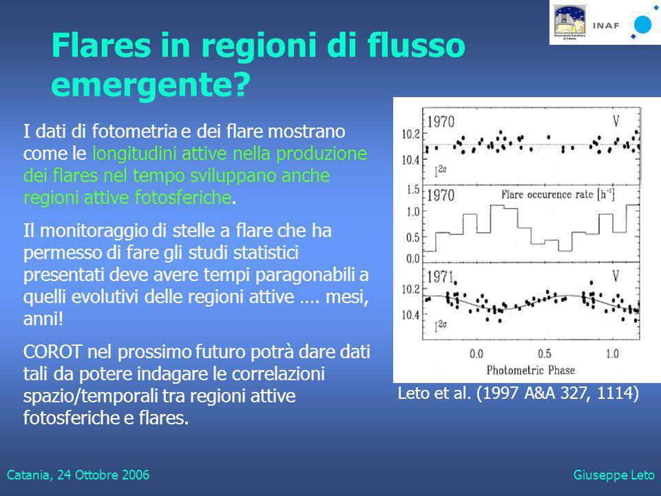 Catania, 24 Ottobre 2006Giuseppe Leto Flares in regioni di flusso emergente.