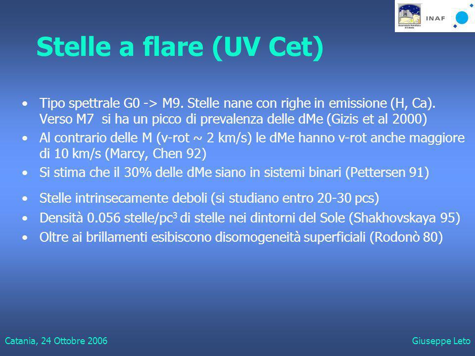 Catania, 24 Ottobre 2006Giuseppe Leto Stelle a flare (UV Cet) Tipo spettrale G0 -> M9.