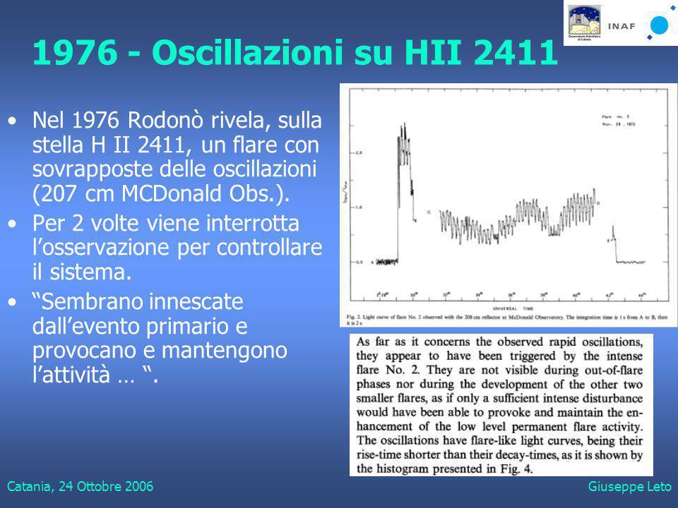 Catania, 24 Ottobre 2006Giuseppe Leto 1976 - Oscillazioni su HII 2411 Nel 1976 Rodonò rivela, sulla stella H II 2411, un flare con sovrapposte delle oscillazioni (207 cm MCDonald Obs.).