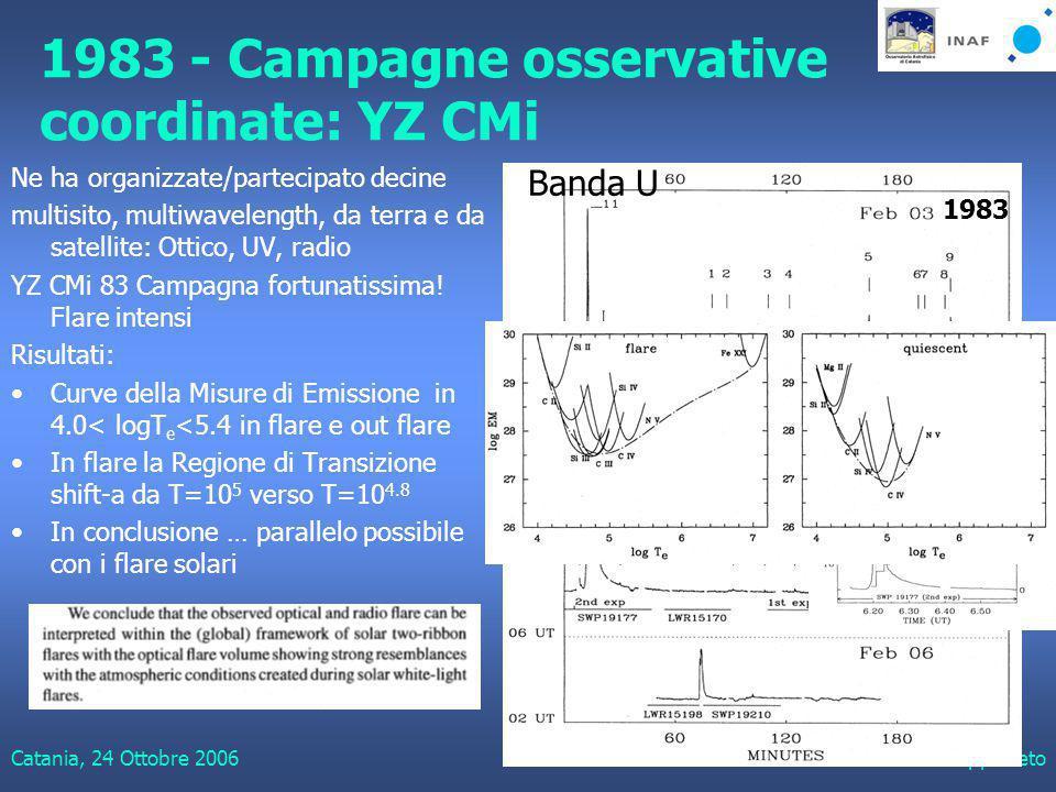 Catania, 24 Ottobre 2006Giuseppe Leto 1983 - Campagne osservative coordinate: YZ CMi Ne ha organizzate/partecipato decine multisito, multiwavelength, da terra e da satellite: Ottico, UV, radio YZ CMi 83 Campagna fortunatissima.