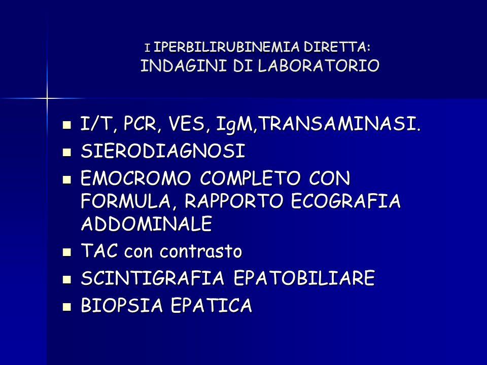 I IPERBILIRUBINEMIA DIRETTA: INDAGINI DI LABORATORIO I/T, PCR, VES, IgM,TRANSAMINASI. I/T, PCR, VES, IgM,TRANSAMINASI. SIERODIAGNOSI SIERODIAGNOSI EMO