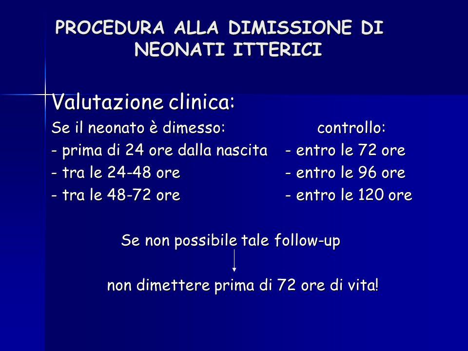 PROCEDURA ALLA DIMISSIONE DI NEONATI ITTERICI Valutazione clinica: Se il neonato è dimesso: controllo: - prima di 24 ore dalla nascita- entro le 72 or