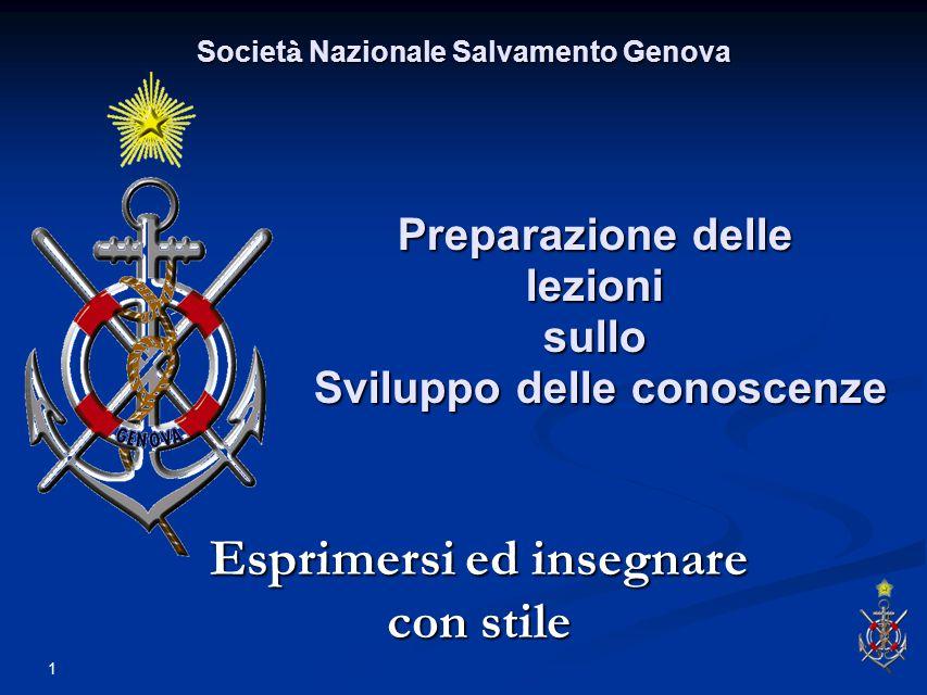 1 Preparazione delle lezioni sullo Sviluppo delle conoscenze Esprimersi ed insegnare con stile Societ à Nazionale Salvamento Genova
