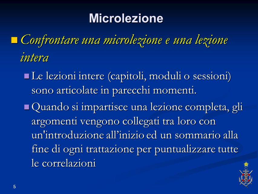 5 Microlezione Confrontare una microlezione e una lezione intera Confrontare una microlezione e una lezione intera Le lezioni intere (capitoli, moduli o sessioni) sono articolate in parecchi momenti.
