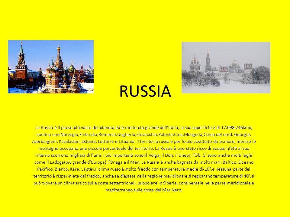 RUSSIA La Russia è il paese più vasto del pianeta ed è molto più grande dell'Italia, la sua superficie è di 17.098.246kmq, confina con:Norvegia,Finlan