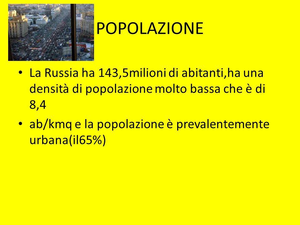 POPOLAZIONE La Russia ha 143,5milioni di abitanti,ha una densità di popolazione molto bassa che è di 8,4 ab/kmq e la popolazione è prevalentemente urb