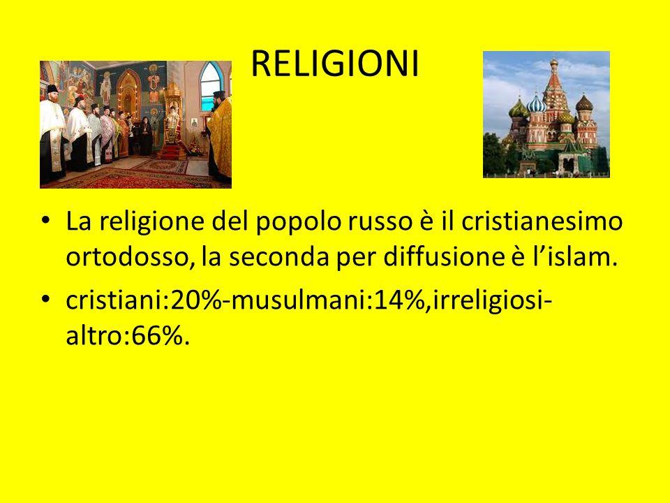 RELIGIONI La religione del popolo russo è il cristianesimo ortodosso, la seconda per diffusione è l'islam. cristiani:20%-musulmani:14%,irreligiosi- al