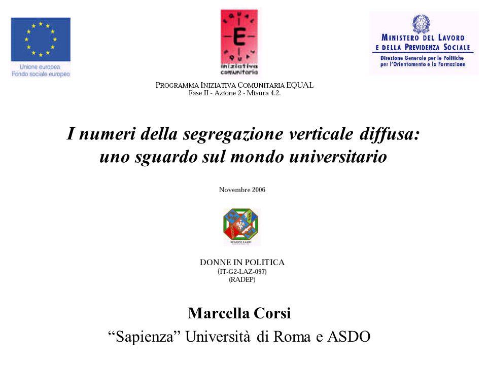 I numeri della segregazione verticale diffusa: uno sguardo sul mondo universitario Marcella Corsi Sapienza Università di Roma e ASDO