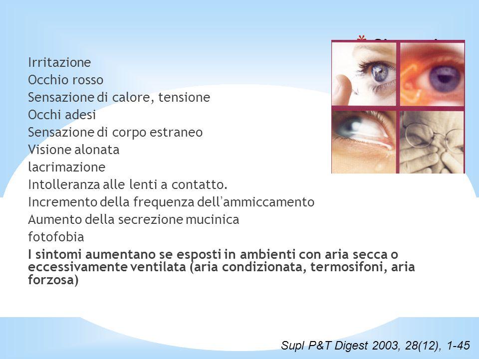 * Sintomi Irritazione Occhio rosso Sensazione di calore, tensione Occhi adesi Sensazione di corpo estraneo Visione alonata lacrimazione Intolleranza alle lenti a contatto.