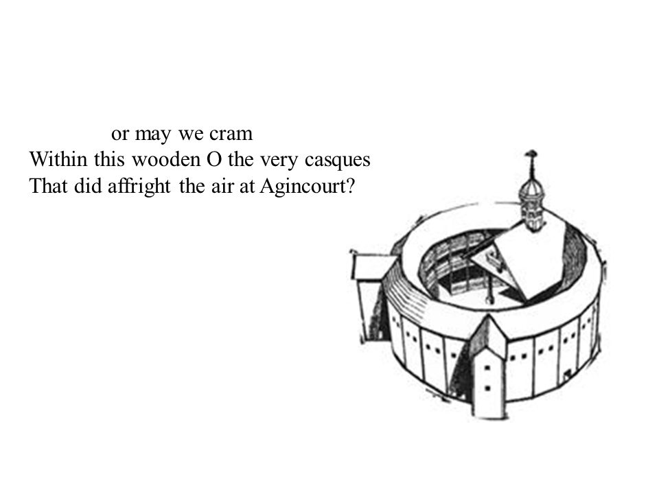 or may we cram Within this wooden O the very casques That did affright the air at Agincourt?