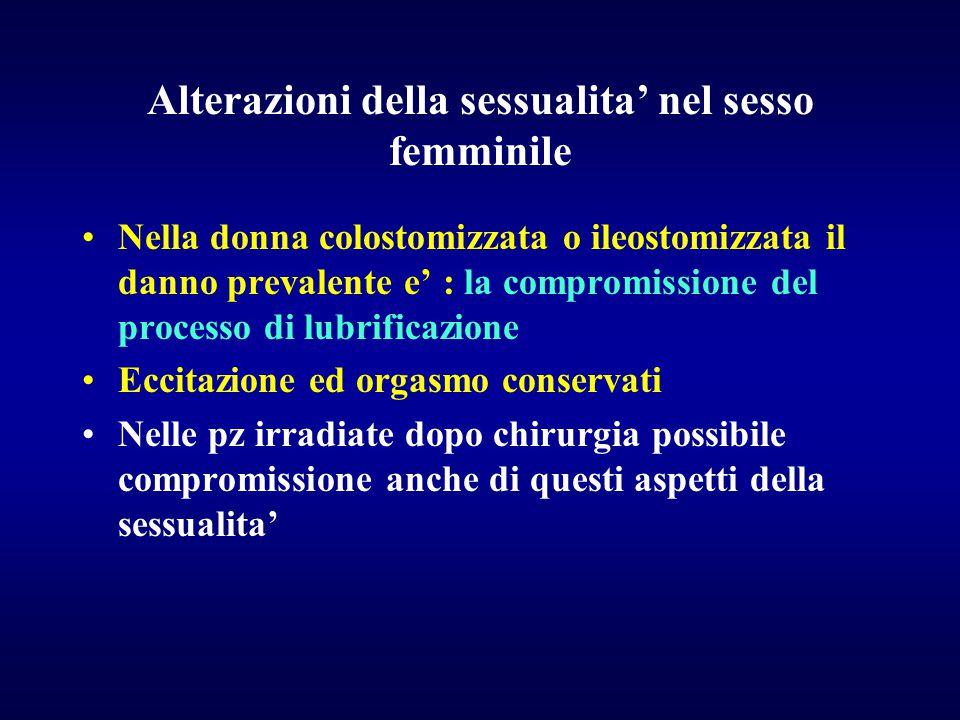 Alterazioni della sessualita' nel sesso femminile Nella donna colostomizzata o ileostomizzata il danno prevalente e' : la compromissione del processo