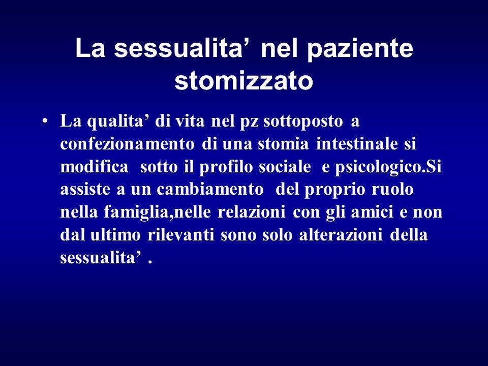 La sessualita' nel paziente stomizzato La qualita' di vita nel pz sottoposto a confezionamento di una stomia intestinale si modifica sotto il profilo