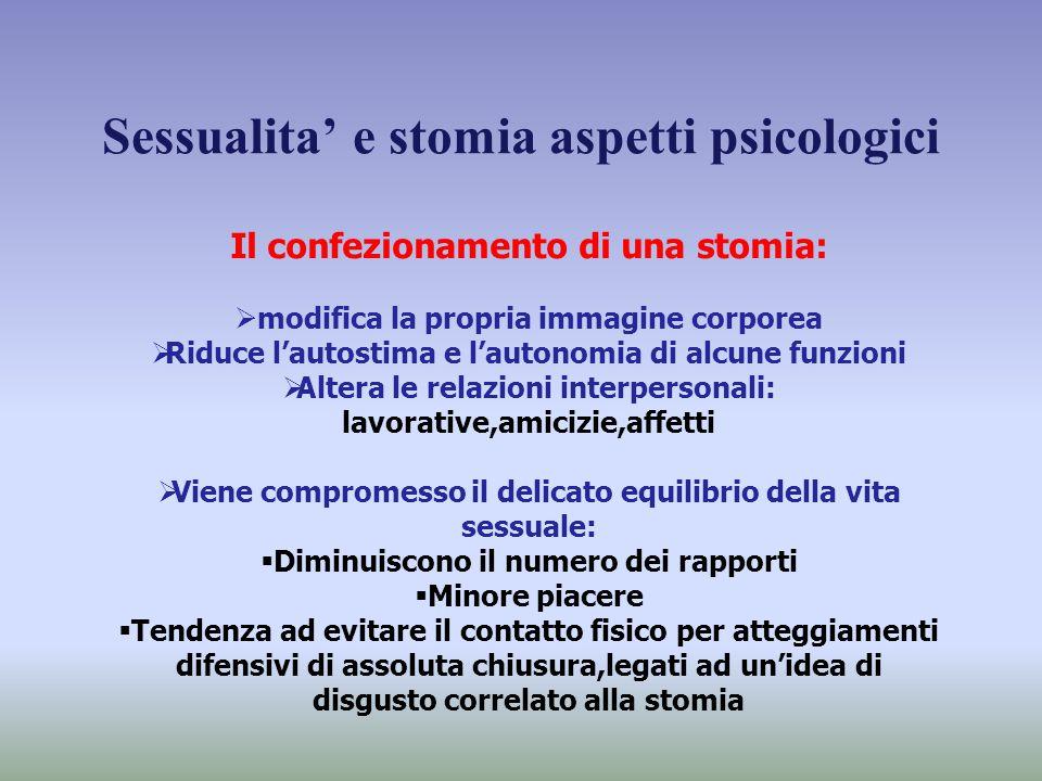 Sessualita' e stomia aspetti psicologici Il confezionamento di una stomia:  modifica la propria immagine corporea  Riduce l'autostima e l'autonomia
