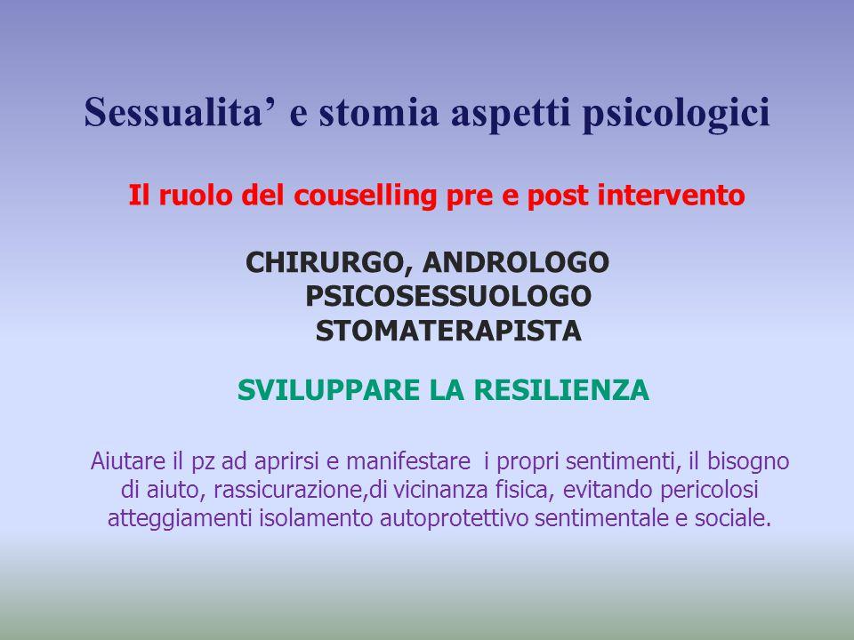 Sessualita' e stomia aspetti psicologici Il ruolo del couselling pre e post intervento CHIRURGO, ANDROLOGO PSICOSESSUOLOGO STOMATERAPISTA SVILUPPARE L