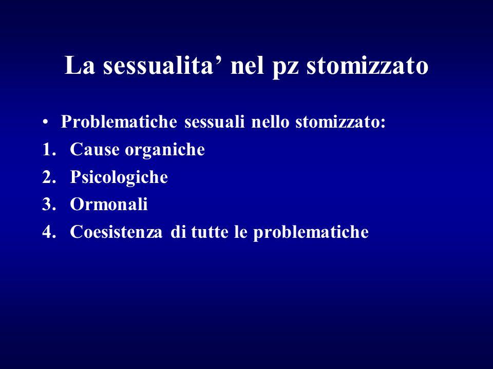 La sessualita' nel pz stomizzato Problematiche sessuali nello stomizzato: 1.Cause organiche 2.Psicologiche 3.Ormonali 4.Coesistenza di tutte le proble