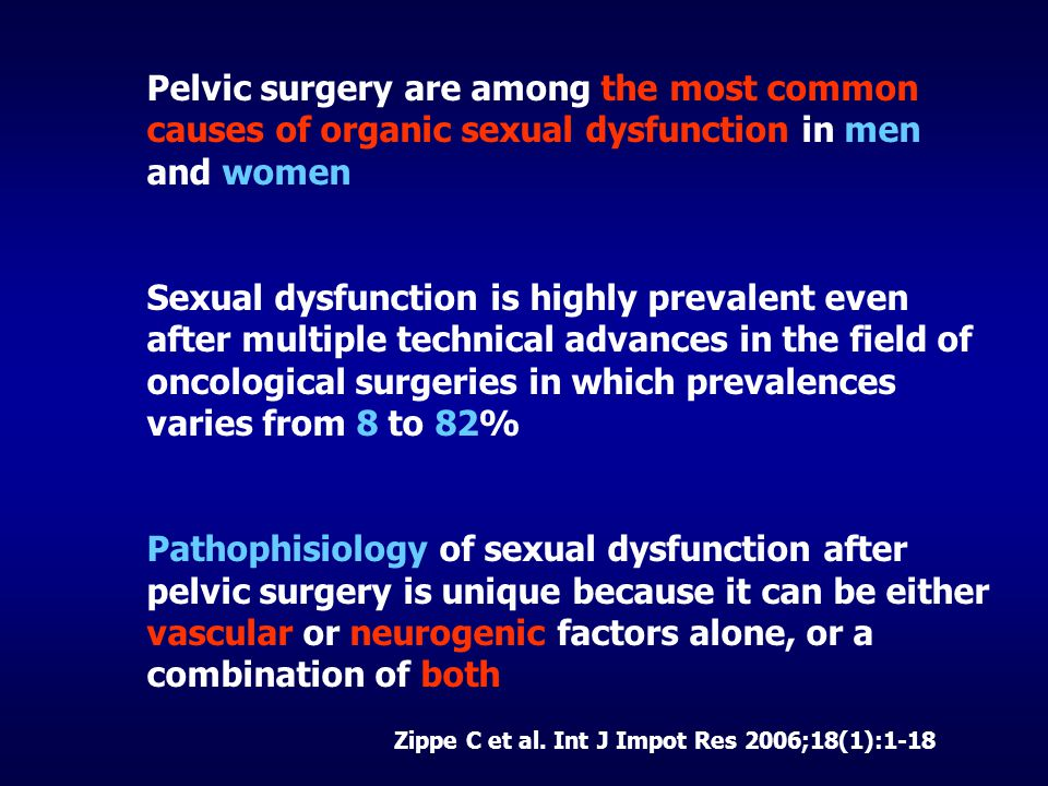 Pelvic surgery are among the most common causes of organic sexual dysfunction in men and women Sexual dysfunction is highly prevalent even after multiple technical advances in the field of oncological surgeries in which prevalences varies from 8 to 82% Pathophisiology of sexual dysfunction after pelvic surgery is unique because it can be either vascular or neurogenic factors alone, or a combination of both Zippe C et al.