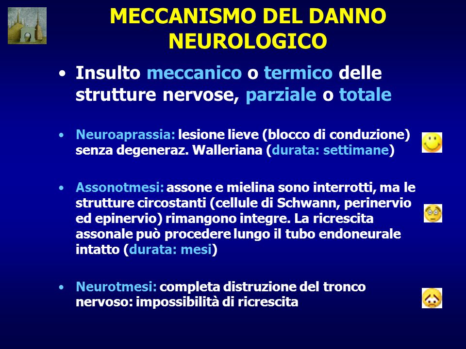 MECCANISMO DEL DANNO NEUROLOGICO Insulto meccanico o termico delle strutture nervose, parziale o totale Neuroaprassia: lesione lieve (blocco di conduz