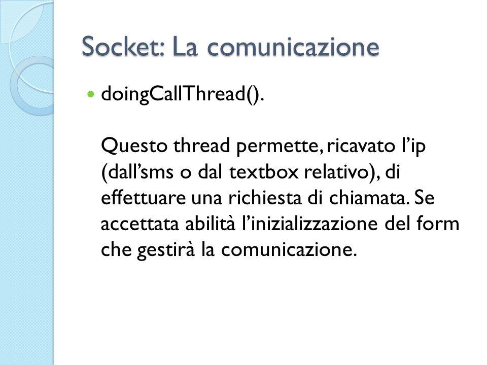 Socket: La comunicazione doingCallThread().