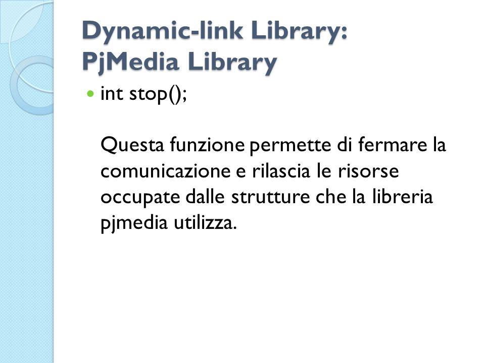 Dynamic-link Library: PjMedia Library int stop(); Questa funzione permette di fermare la comunicazione e rilascia le risorse occupate dalle strutture che la libreria pjmedia utilizza.