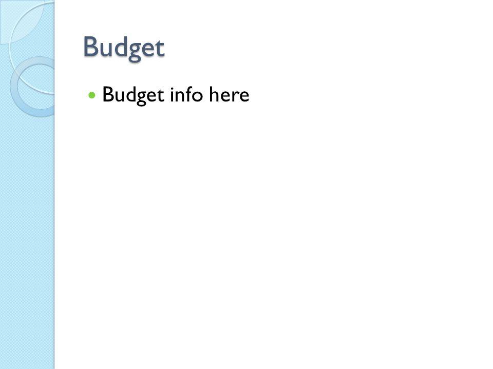 Budget Budget info here