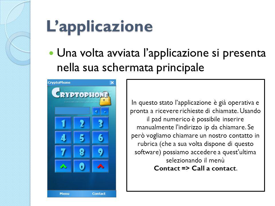 L'applicazione Una volta avviata l'applicazione si presenta nella sua schermata principale In questo stato l'applicazione è già operativa e pronta a ricevere richieste di chiamate.