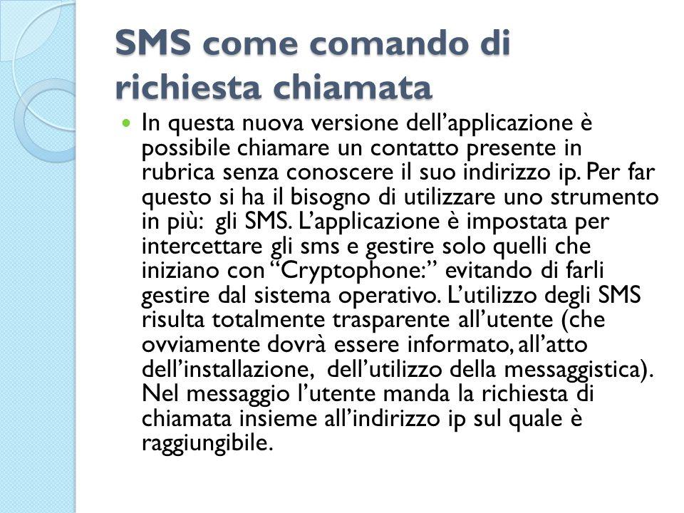 SMS come comando di richiesta chiamata In questa nuova versione dell'applicazione è possibile chiamare un contatto presente in rubrica senza conoscere il suo indirizzo ip.