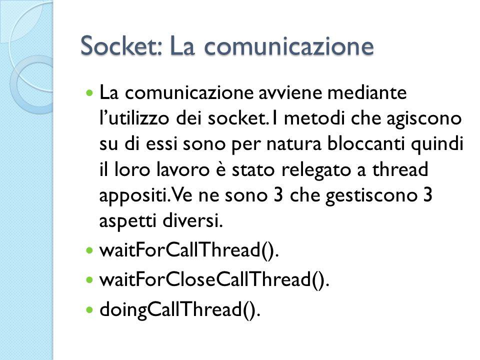 Socket: La comunicazione La comunicazione avviene mediante l'utilizzo dei socket.